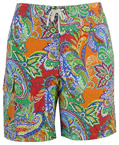 Polo Ralph Lauren Men Palm Island Paisley Swim Trunk (M, Orange/Red/Multi)