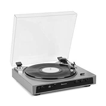 auna Fullmatic - Tocadiscos automático , 33 o 45 revoluciones por Minuto , Vinilos de 30 o 17 cm de diámetro , USB , Entrada AUX , Preamplificador , ...