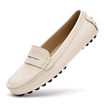 Artisure Womens Girls Classic Handsewn Beige Genuine Leather Penny Loafers Driving Moccasins Casual Boat Shoes