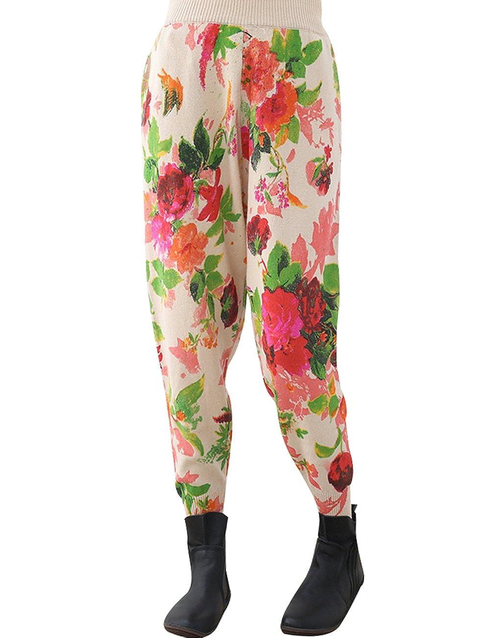 Style 3 Zoulee Women's Elastic Waist Printed Wool Pants Harem Pants