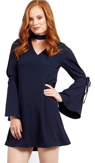8a27a6849a9 Blue Vanilla Choker V Neck Sleeve Detail Navy Dress 10  Amazon.co.uk   Clothing
