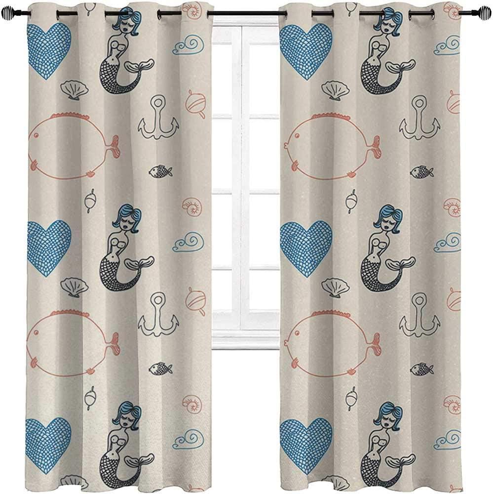 carmaxshome Mermaid Kitchen Window Curtains 63 inch Length, Balloon Fish Hearts Pattern Sea Oceanic Objects Sketch Art Kids Decor Custom Curtains 2 Panels - Cream Light Blue Black