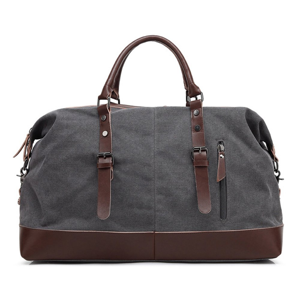 MAGE MALE Overnight Bag Travel Duffel Genuine PU Leather Weekender Tote