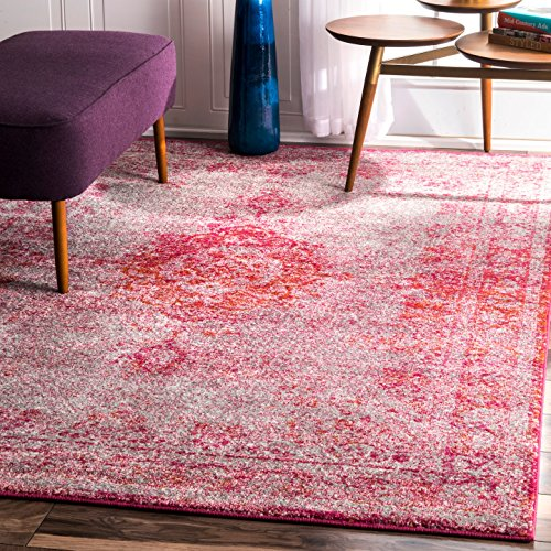 nuLOOM RZBD47C Pink Tanja Overdyed Medallion Area Rug, 4' x 6', Pink