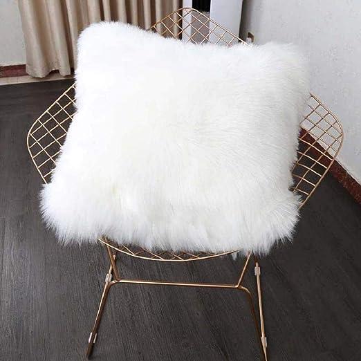 HEQUN Funda de cojín de sofá, Funda Almohada de Suave Piel sintética de Lana, Cojín Cubierta Tiro Funda de Almohada Sofá Decoración 45cm x 45cm (sin ...