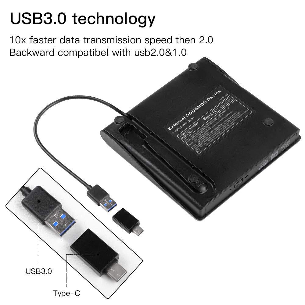 Charlemain Lettore CD Dvd Esterno Masterizzatore USB 3.0+Type C Portatile Lettura/Scrittura CD-R Dvd-RW per PC MacBook PRO/Air Laptops Windows-Nero
