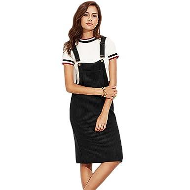 ab41e6032b Black Ribbed with Pocket Slip Overall Dress Autumn Winter Women Sleeveless  Basic Knee Length Dress at Amazon Women s Clothing store