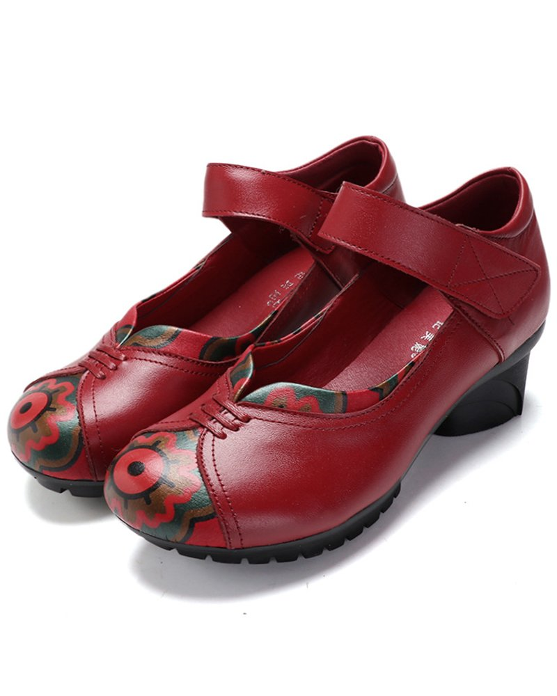 Women's Soft Real Leather Comfortable Round Toe Mid Heel Mary Jane Shoes B07FWXBCYW 6.5 M US|Style 5 Red