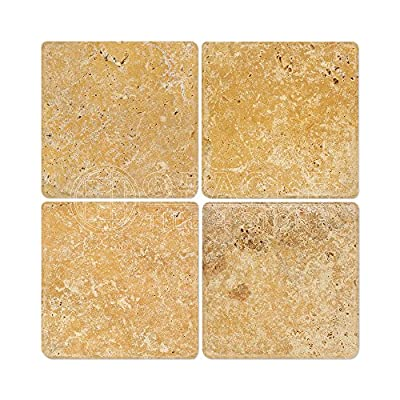 Gold/Yellow 6X6 Tumbled Travertine Tile