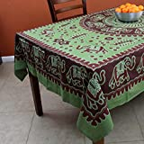 Handmade Elephant Mandala Cotton Tablecloth Table Linen (Rectangular 60 x 90, Green)
