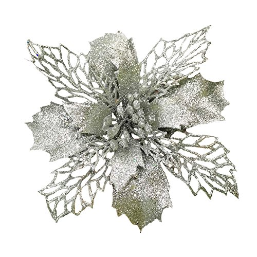 Silver New Glitter Artificial Wedding Christmas Flowers Glitter Poinsettia Christmas Tree Ornaments Pack of 12 - Poinsettias Christmas