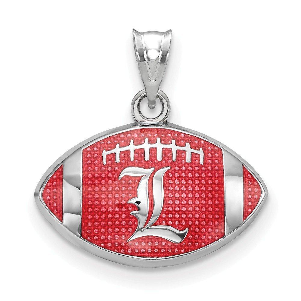 of Louisville Enameled Football Pendant 17.3mm x 18mm Jewel Tie 925 Sterling Silver University