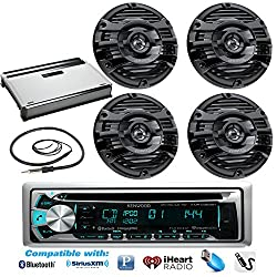New Kenwood Marine Bluetooth CD MP3 USB AUX iPod iPhone Radio Stereo Player With 4 X 6.5 Inch Kenwood Marine Audio Speakers 4 Channel 360 Watts Marine Amplifier And Enrock Marine 45 Antenna - Complete Marine Outdoor Audio Package (Black)