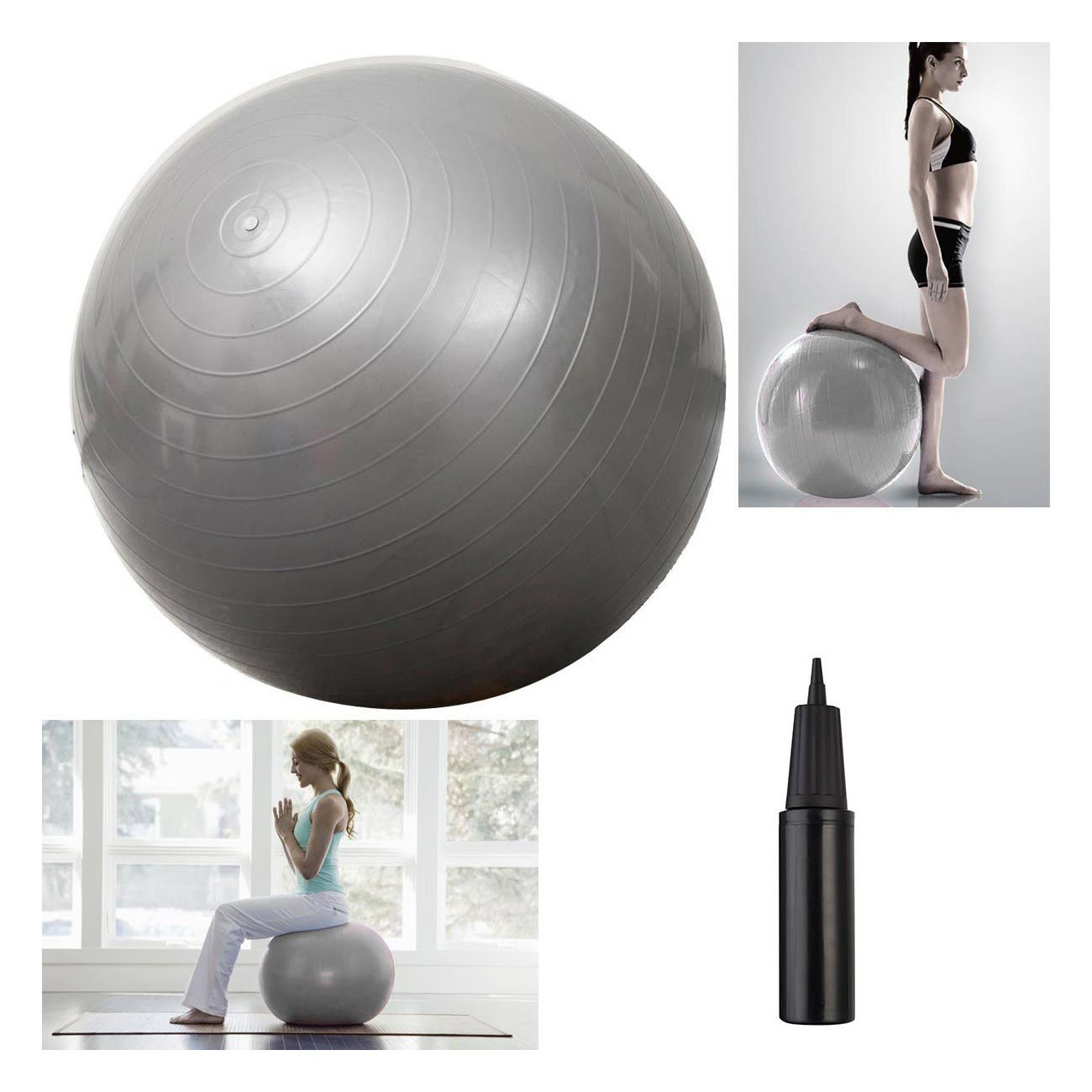 75cm Silver Yoga Ball Stability Pilates Ball Fitness Equipment Exercise Gym Ball