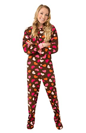 Womens Brown Fleece w/Pink Hearts Adult Footed Pajamas No Drop-seat Onesie