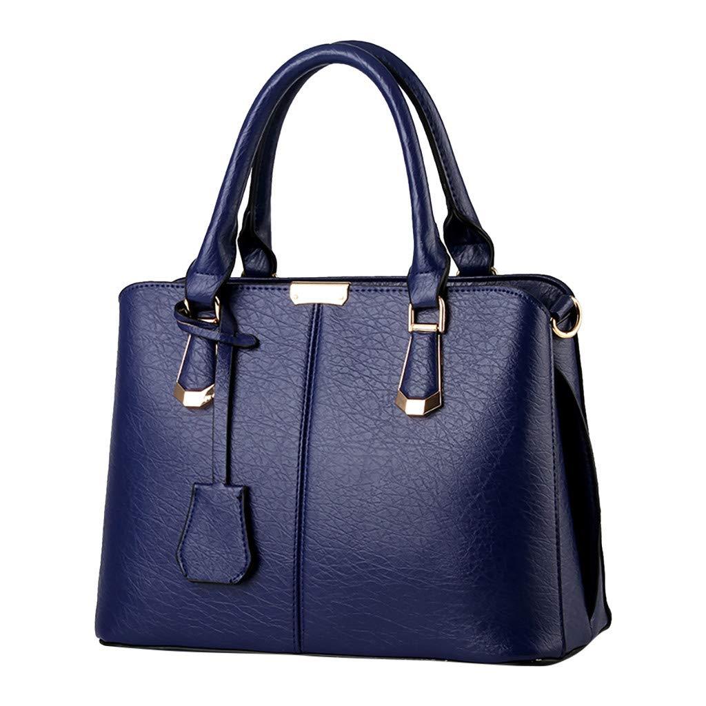 Shoulder Bags,AgrinTol Women Large Capacity Simple Fashion Top Handle Satchel Tote Purse (Dark Blue) by Agrintol_Fashion Bags