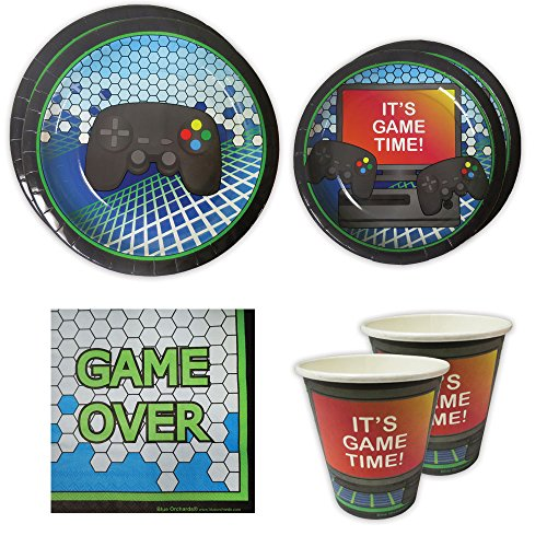 Party Pack Game (Video Game Party Standard Party Packs (65+ Pieces for 16 Guests!), Gaming Party Tableware, Video Game Party Supplies, Gamer Birthday Decorations)