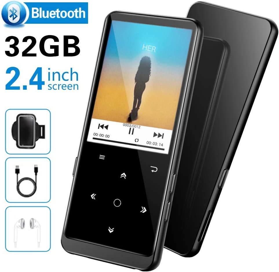32GB Reproductor MP3 Bluetooth 4.2-SUPEREYE MP3 Player con Grabarora, FM Radio, con Pantalla de Color de 2.4