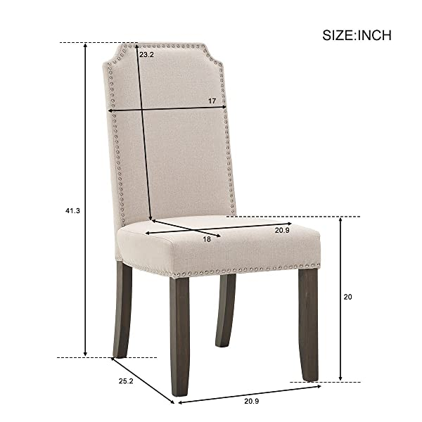 Merax PP036191AAA Set of 2 Stylish Upholstered Fabric Dining Chairs with Nailhead Detail and Solid Wood Legs (Beige)