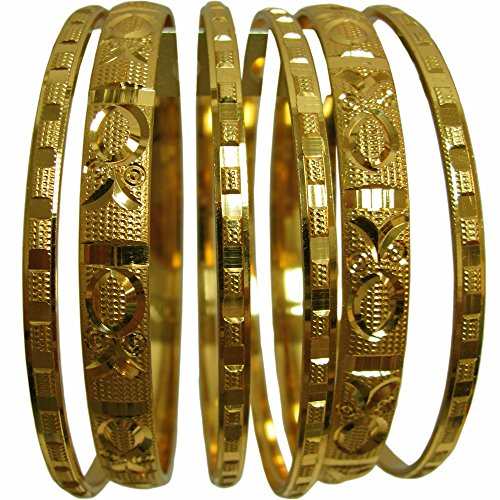 [Women's Traditional Indian Belly Dance Gold-Toned Bangle Bracelet Set of Six (2-12)] (1960s Costume Jewelry)
