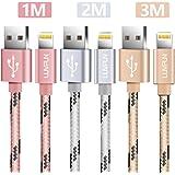 [3-PACK] Câble iPhone, LUVFUN 1M+2M+3M Nylon Tressé Câble Lightning Chargeur iPhone avec Aluminium Connecteur Résistant pour iPhone 8 / 8 Plus / 7 / 7 plus / 6s / 6s plus / 6 / 6 plus / SE / 5s / 5c / 5, iPad 2/ 3 /4 Mini, iPad Pro Air & More (Or Rose+Argent+Or )