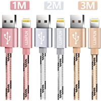 Luvfun Phone Cable, [123M-3Pack] Nylon Braided Charger Cable for iPhone 8/8 Plus / 7/7 plus / 6s / 6s plus / 6/6 plus (Rose Gold+Silver+Gold)