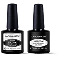 Lagunamoon Base Top Coat Lot Vernis Semi permanent Nail Gel kit de Manucure Vernis à Ongles UV LED Soak off 8ml