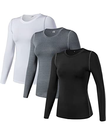 fe39fa17 WANAYOU Women's Compression Shirt Dry Fit Long Sleeve Running Athletic T- Shirt Workout Tops