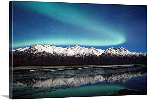 Northern Lights Over Chugach MTS Knik River Southcentral Alaska Canvas Wall Art Print