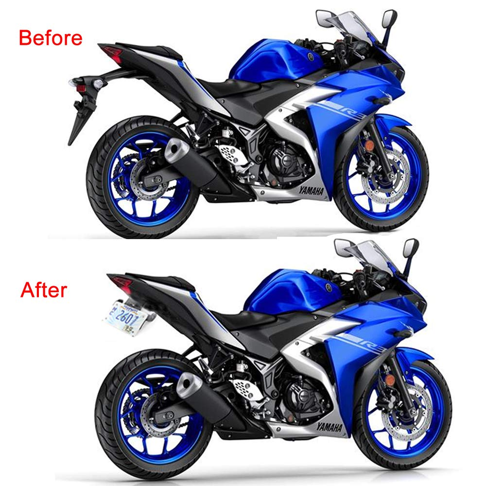 YZF-R25 with Led License Plate Light Rear Tail Tidy//Fender Eliminator Kits For Yamaha YZF-R3 Compatible with OEM//Stock Turn Signal//Indicator MT-03 MT-25