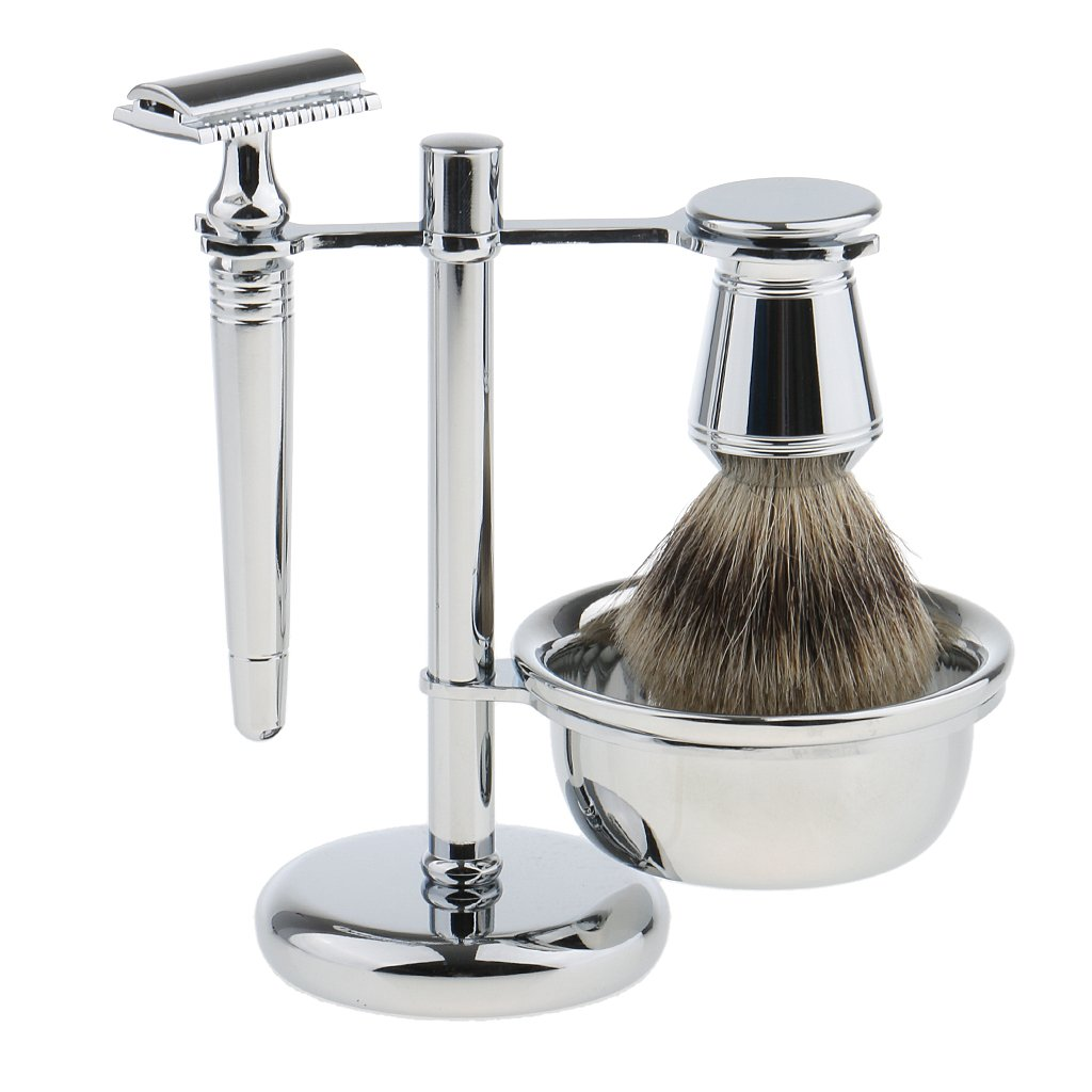 Dovewill Removable Men Classic Shaving Tool Set, Razors+Brush+Stand Weighted Base+Bowl, Facial Cleaning Beard Removal Tools