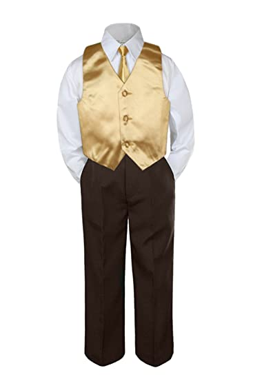Amazon.com: leadertux 4pc Formal bebé niños Mostaza chaleco ...