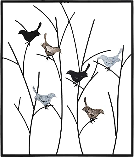 Lechesis Metal Bird Wall Art Decor – Handmade Metal Framed Birds on Wall Plaque Decor Sculptures Branches – 25 x 29 1 2 – Iron Rustic Abstract Black Colored Birds Wall Plaque Decoration