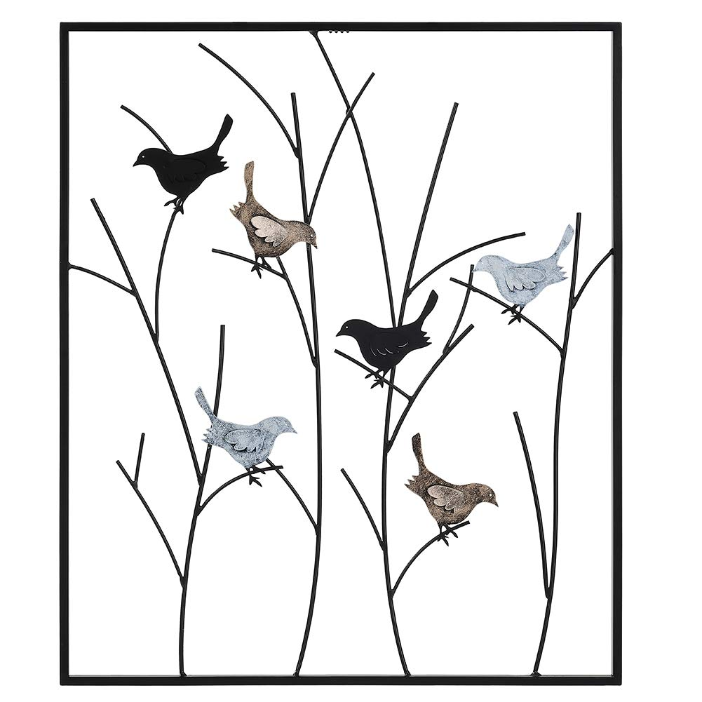 """Lechesis Metal Bird Wall Art Decor - Large Metal Framed Birds on Branches Wall Sculpture 25"""" x 29.5"""" - Handcrafted Unique Colored Birds Iron Wall Plaque Decoration - Black"""