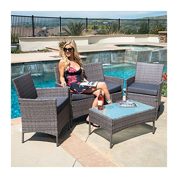 BELLEZE 4 PC Rattan Patio Furniture Garden Lawn Sofa Outdoor Weather Resistant Wicker Cushioned Seat Set, Gray - Simple Contemporary- Design of this patio set suits a range of tastes and preferences, which complements any Outdoor/Indoor living space Elegant and Comfortable- 4-Piece Wicker set will transform your outdoor area into a cozy private retreat Sophisticated Touch- Table with removable tempered glass adds a sophisticated touch and allows you to place drinks, meals, or decorative items on top - patio-furniture, patio, conversation-sets - 617STRJdMML. SS570  -