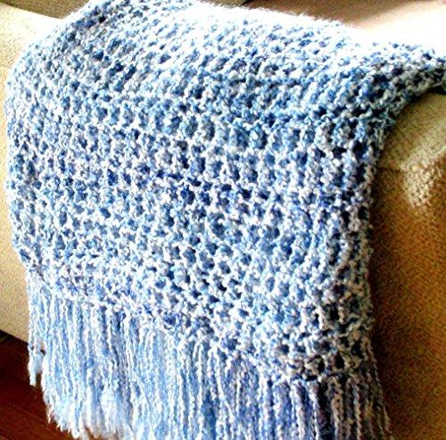 Throw Blanket, Blue and White Afghan Home Design, Interior Design, Home Decor handmade fringed blanket