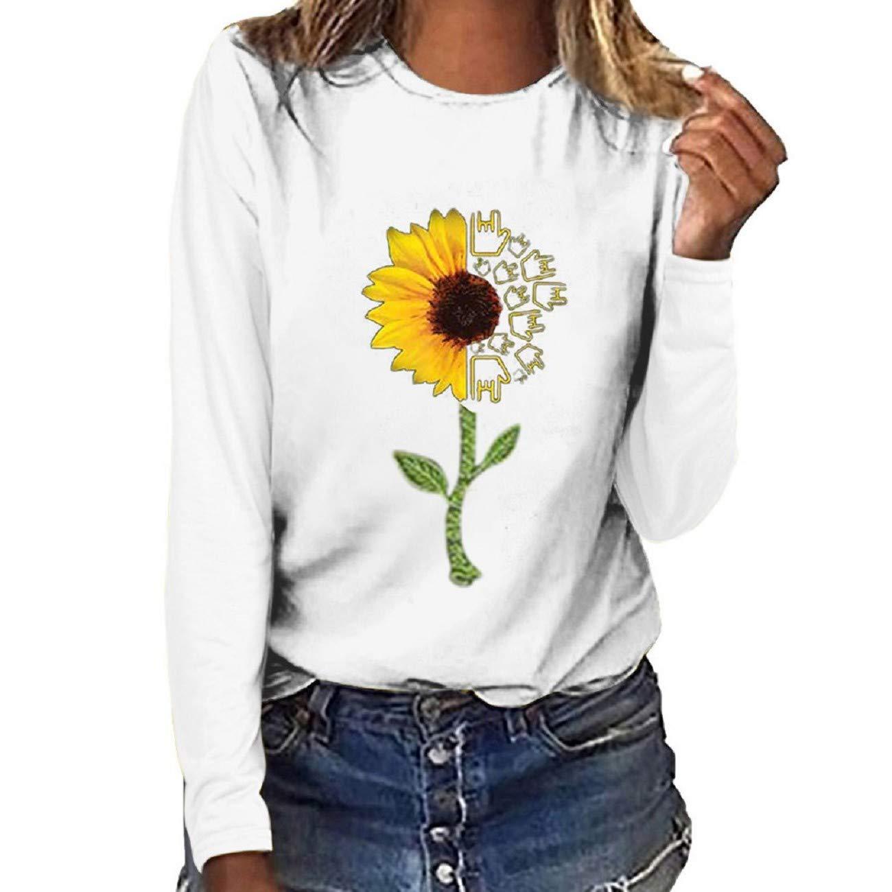 Tsmile Women Plus Size Sweatshirt Fashion Floral Letter Print Round Neck Long Sleeve Casual Fit T-Shirt Blouse Tops