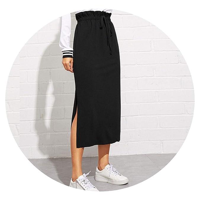 970697b23d Black Paperbag Waist Split Side Casual Workwear Women Maxi Skirt High Waist  Belted Split Hem Midi Skirt at Amazon Women's Clothing store: