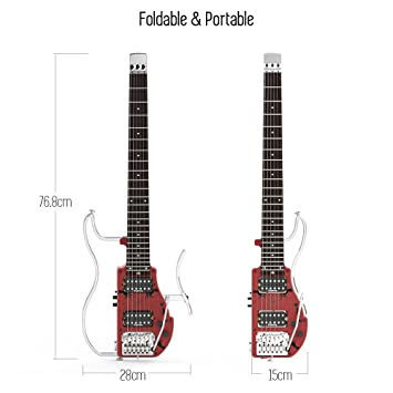 Ammoon plegable viaje eléctrico guitarra sin cabeza doble ...
