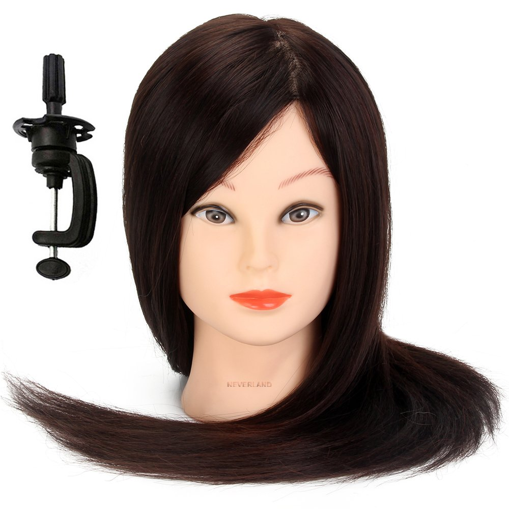 Neverland Beauty 22 60% Real Human Hair Professional Training Head Hairdressing Styling Practice Cosmetology Mannequin With Clamp Neverland Beauty & Health