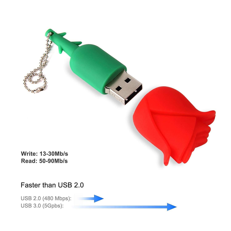 Lovely Key Chain New 32GB Cartoon Rose USB Flash Drive, USB 2.0 Flash Driver Data Storage Device Memory Rod Gift U Disk by MD001 (Image #4)