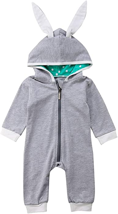 FORESTIME Newborn Infant Kids Baby Boys Girls Rabbit Zipper Hooded Jumpsuit Outfit Clothes