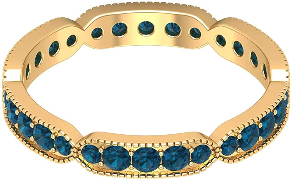 Anillo de eternidad de topacio azul certificado de 1,08 ct, único para mujer, anillo de promesa, antiguo de dama de honor, 18K Oro