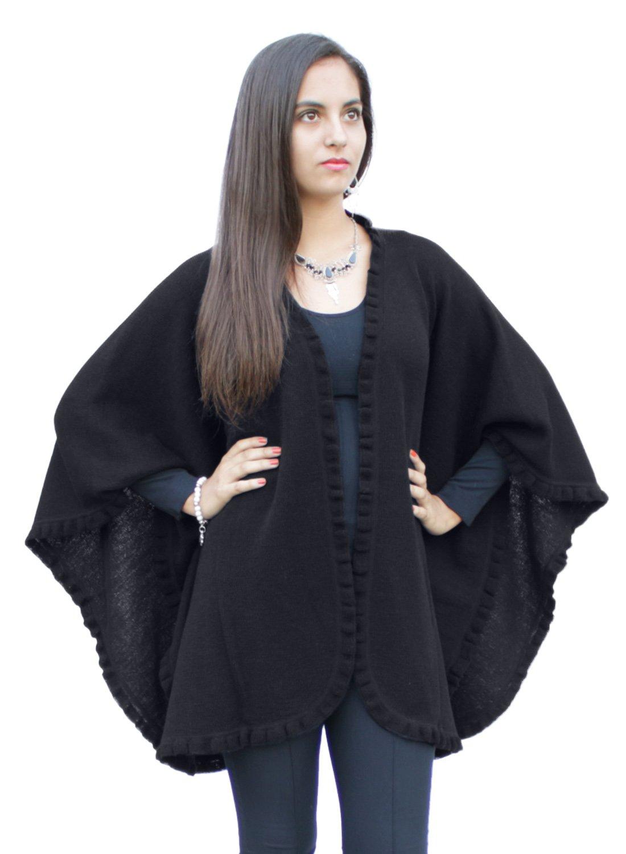 Authentic 100% Baby Alpaca Wool Knitted Ruana Cape Ruffle Trim Wrap One Size (Black)