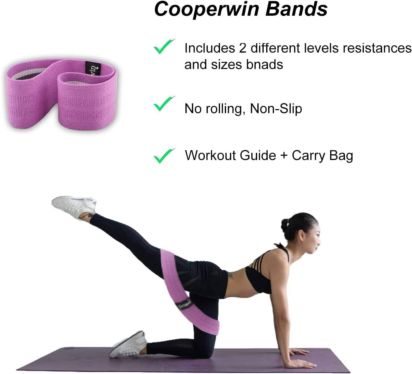 Fitness Sports Bands Elastic Bands for Legs and Butt Stretch Hip Bands for Women//Men for Therapy Pilates Muscle Training Yoga Set Exercise Resistance Workout Booty Band Fabric Workout Bands
