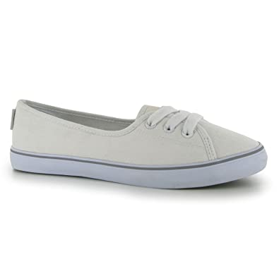 SoulCal Shore Ladies Leisure Canvas Shoes Summer Footwear Slip-On Sneaker  Slipper White Size: