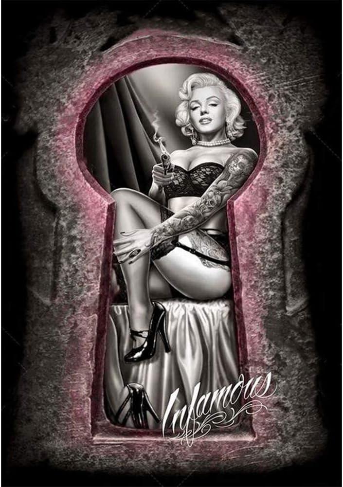 Kit de Pintura de Diamante 5D para Adultos Marilyn Monroe 5D DIY Accesorios Diamantes de Imitaci/ón Bordados Cuadros de Punto de Cruz Manualidades para Sala de Estar Decoraci/ón de Pared 30 x 40 cm