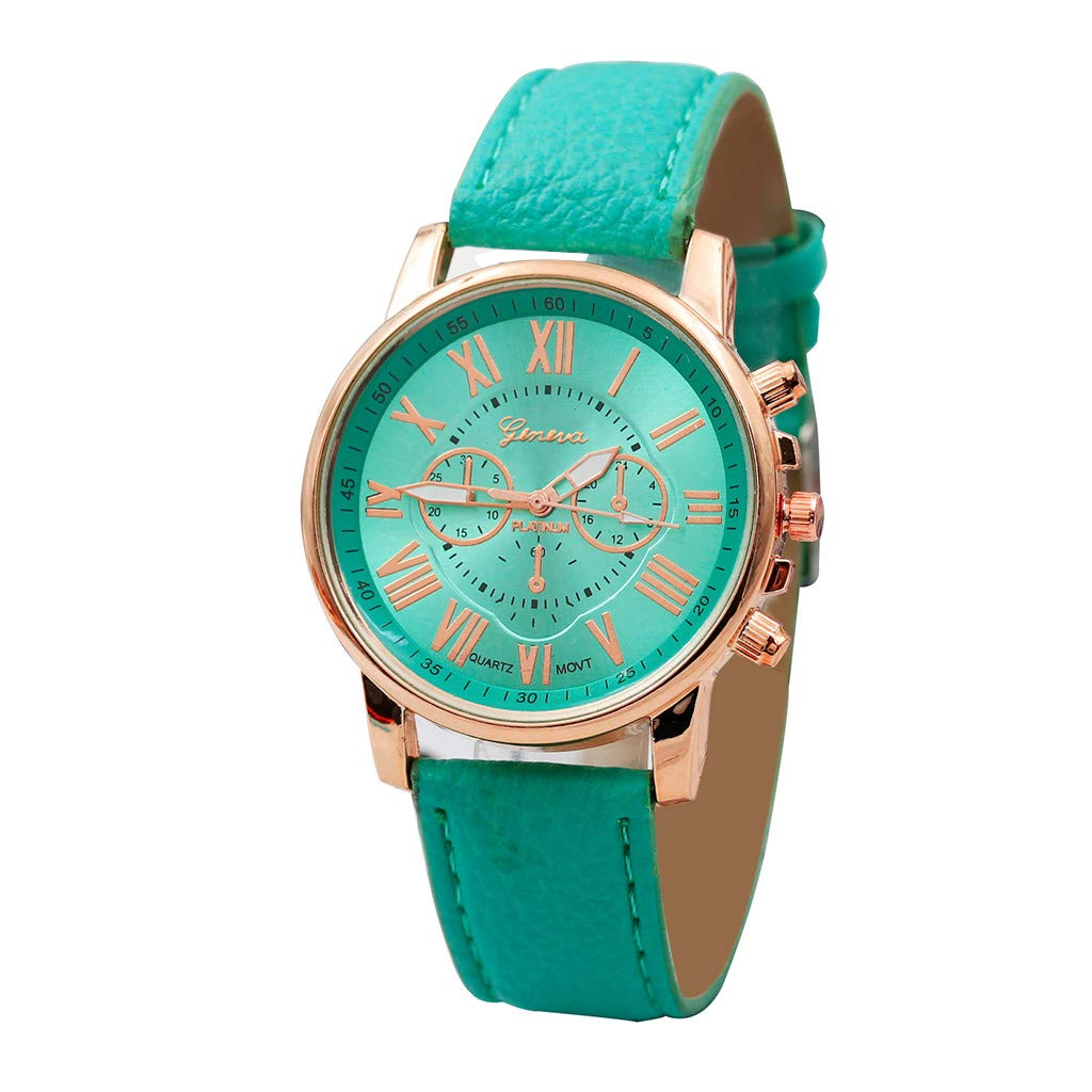 Womens Roman Numerals Faux Leather Analog Watch
