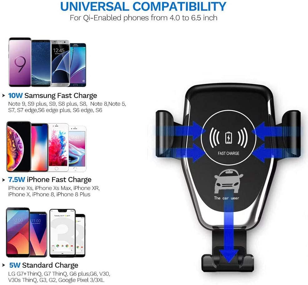 Wireless Car Charger Mount 10W Fast Qi Car Charger Holder for iPhone X 8 Samsung Galaxy S9 S8 S7 LG Premium Charge Stand Cars Kit with QC3.0 Quick Gravity Dock and Cell Phone Air Vent Set Upgraded