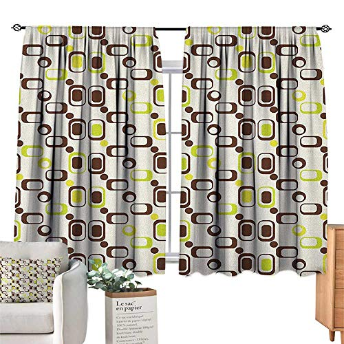 GeometricSolid Rod Pocket short Blackout DrapesGeometric Pattern with Rectangle Shapes Vintage InspiredBlackout Curtains Room Darkening Thermal Insulated Living Room Curtains Chestnut Brown Apple Gre